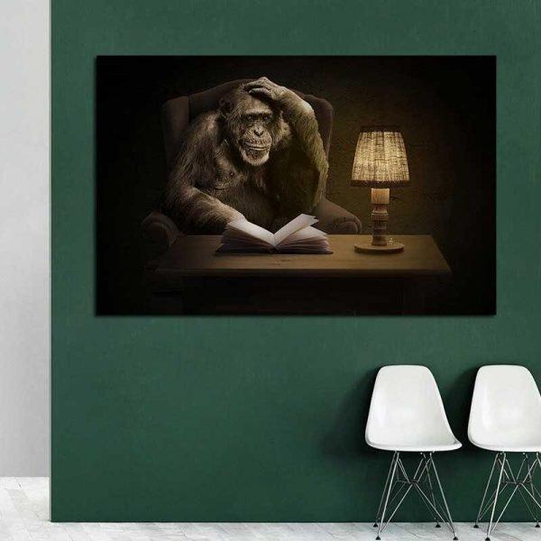 Tableau déco singe penseur