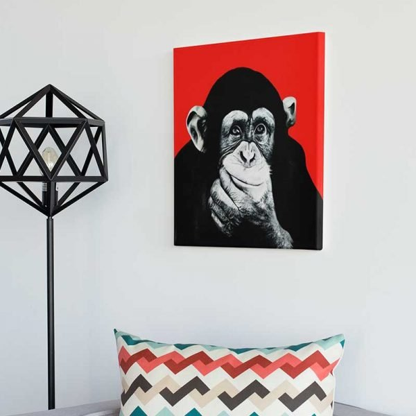 Tableau déco singe rouge