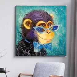 Tableau singe bleu