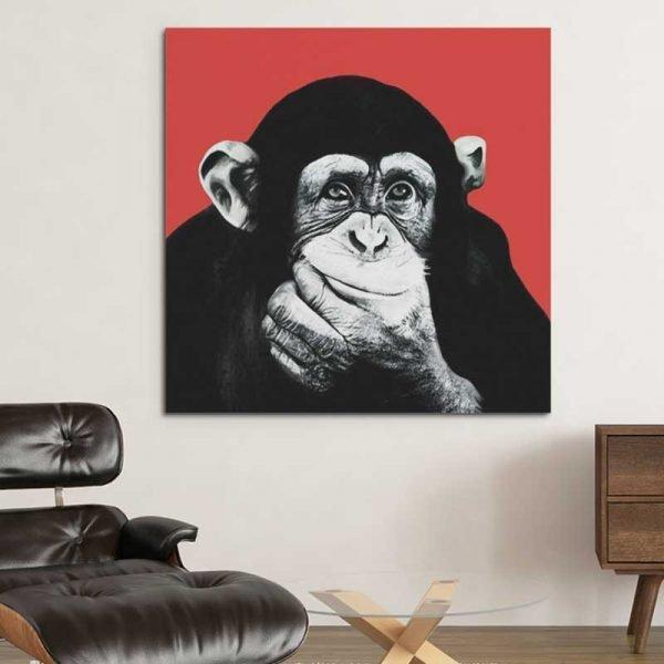 Tableau singe rouge