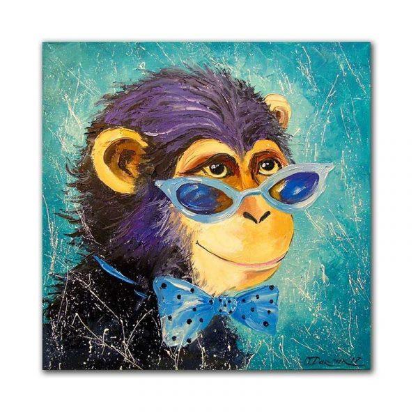 Tableau sur toile singe bleu