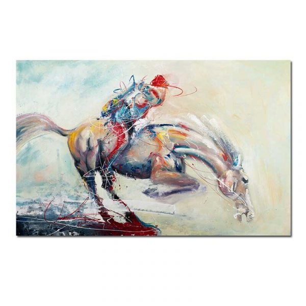 Tableau sur toile jockey abstrait