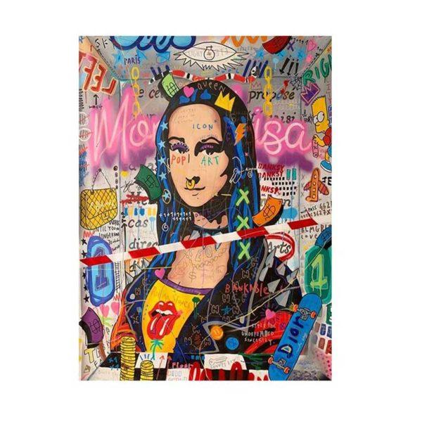 Tableau sur toile street art mona lisa
