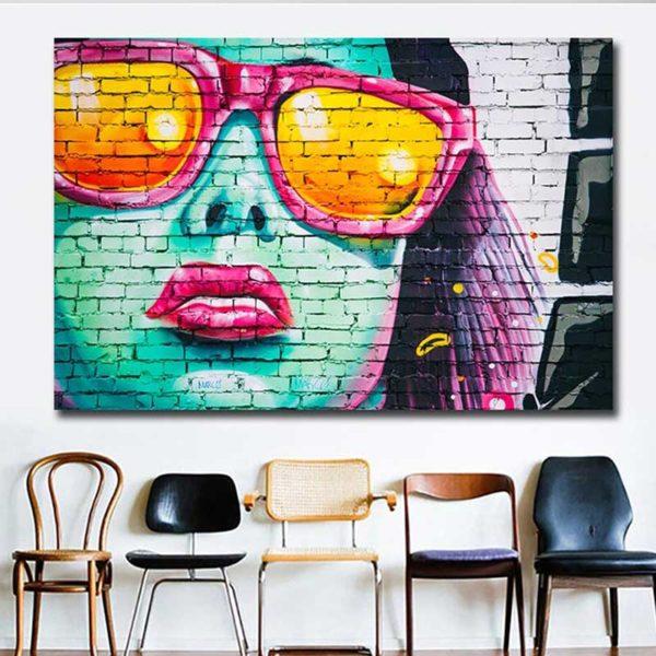 Tableau street art femme