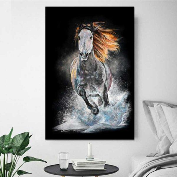 Peinture cheval au galop