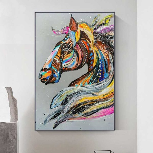 peinture cheval multicolore