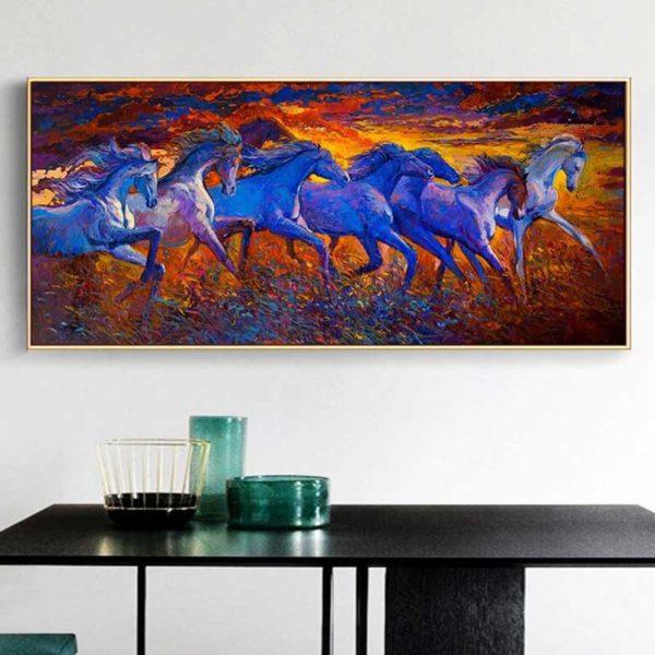 Peinture chevaux bleus
