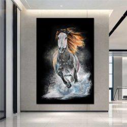 Peinture déco cheval au galop