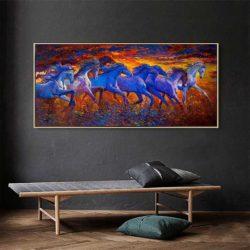 Peinture déco chevaux bleus