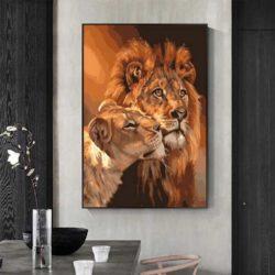 peinture déco lion et lionne