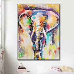 Peinture éléphant multicolore