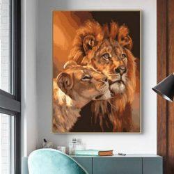 Peinture lion et lionne