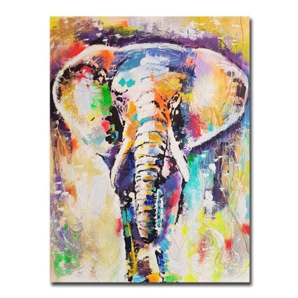 Peinture sur toile éléphant multicolore