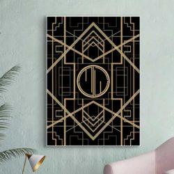 Tableau abstrait géométrique doré