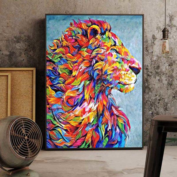 Tableau abstrait lion