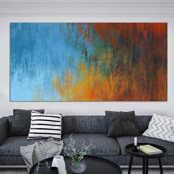 tableau abstrait rouge et bleu