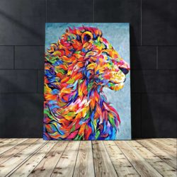 Tableau déco abstrait lion