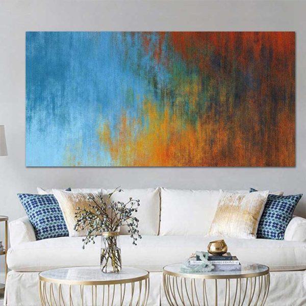 tableau déco abstrait rouge et bleu