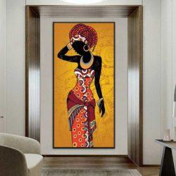 Tableau déco africain orange