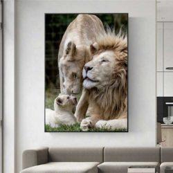 Tableau déco famille lion