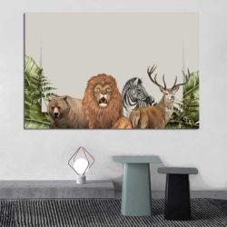 Tableau déco lion jungle