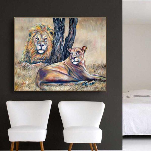 Tableau déco lion nature