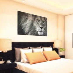 Tableau déco lion noir