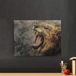 tableau déco lion qui rugit