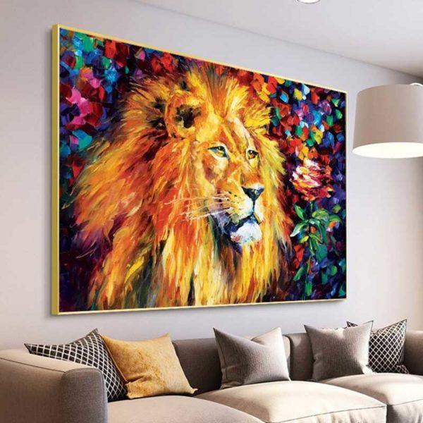 Tableau déco lion relief
