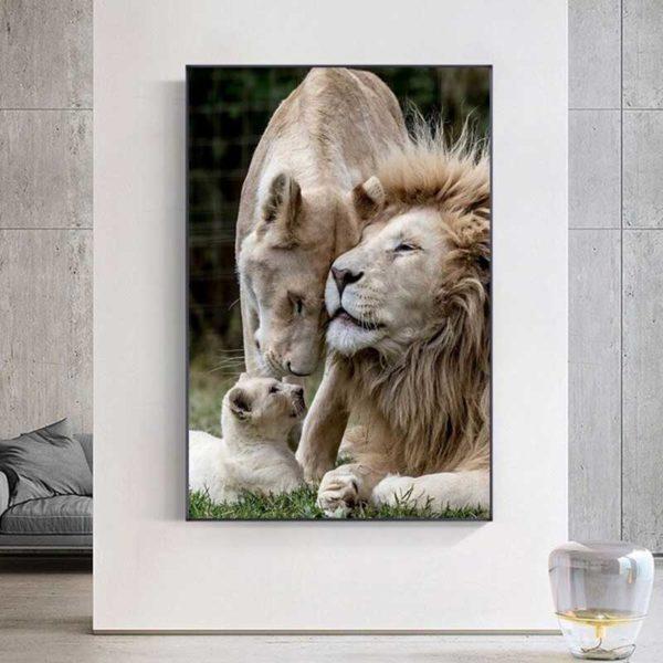Tableau famille lion