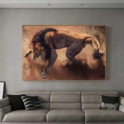 tableau lion 3d