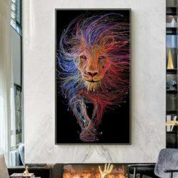 Tableau lion abstrait