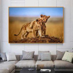tableau lion bébé