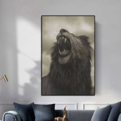 Tableau lion beige