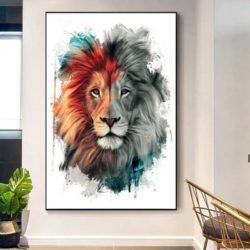 Tableau lion blanc