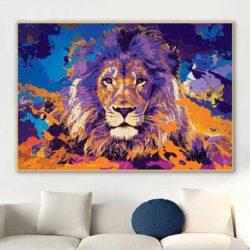 Tableau lion coloré