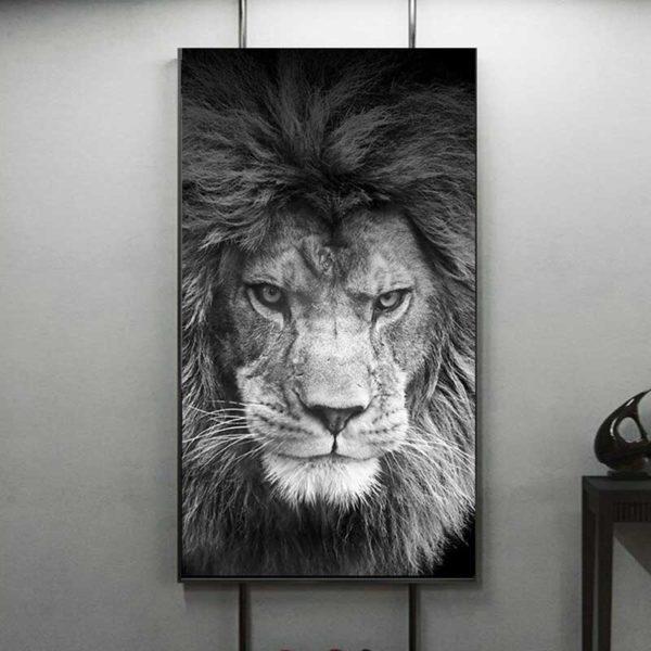Tableau lion contemporain
