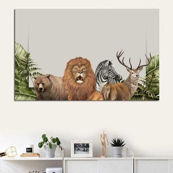 Tableau lion jungle