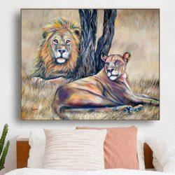 Tableau lion nature