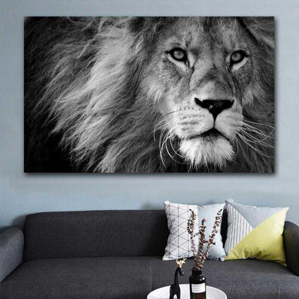 Tableau lion noir