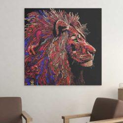 Tableau lion pour salon
