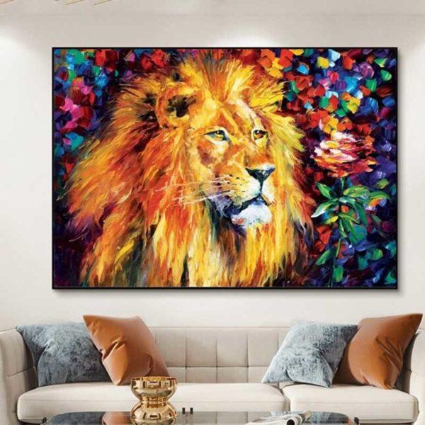 Tableau lion relief