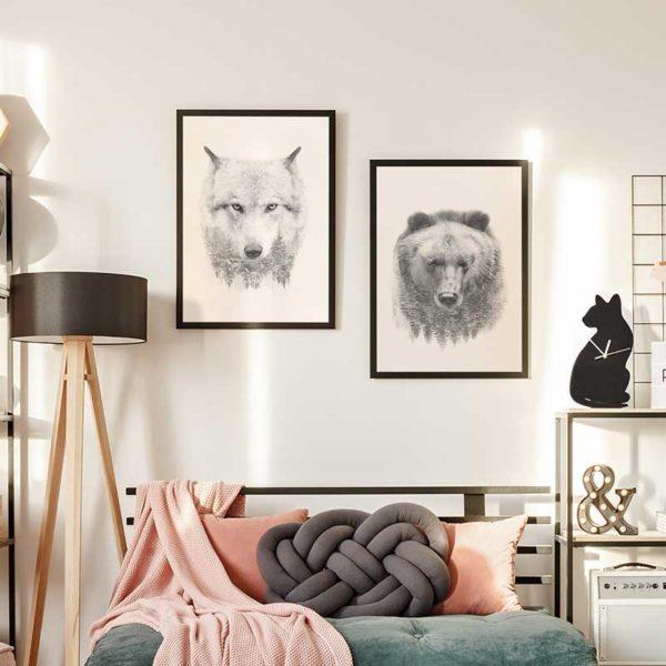 tableaux loup et ours