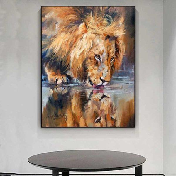 tableau peinture lion