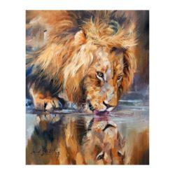 Tableau peinture sur toile lion