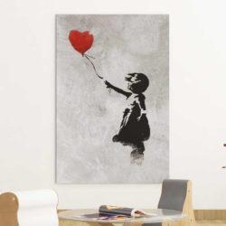 Tableau petite fille avec ballon rouge