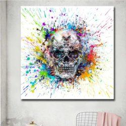 tableau pop art tête de mort