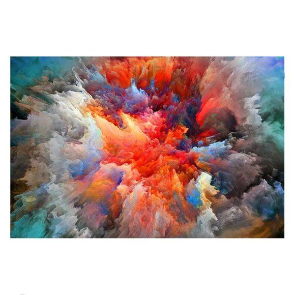 Tableau sur toile abstrait orange et gris
