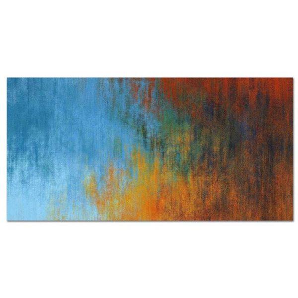 tableau sur toile abstrait rouge et bleu