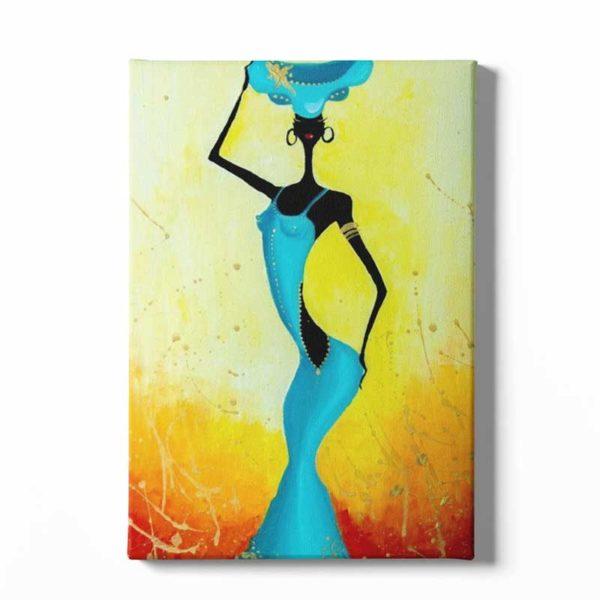 Tableau sur toile africain silhouette femme
